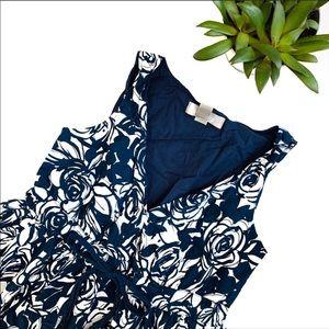 Liz Claiborne Navy Blue & White Floral Midi Dress